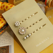 hot 2014 accessories beautiful exquisite pearl vintage hairpin side-knotted clip hair accessory 5014