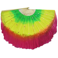 Yangko fan standard fan dance double faced dance fan lengthen gradient color