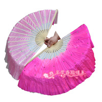 Plus size double faced two-color jasmine fan dance fan white rose gradient fan dance props