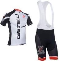 2013 NEW!!! Castelli white bib short sleeve cycling jersey wear clothes bicycle/bike/riding jersey+bib pants shorts
