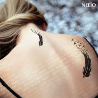 Free shipping Temporary tattoos,Tattoo stickers waterproof feather black large female defendhim