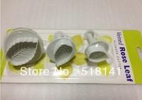 Min order $15 (mix order) 3pcs/set Veined Rose Leaf Cake Decorating Plunger Cutter Fondant Mold DIY Tools free shipping