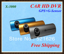 "Free shipping Car DVR X3000 GPS Dual Camera Lens Full HD 3D G-Sensor 2.7"" Blackbox 140 Degree Wide Angle(China (Mainland))"