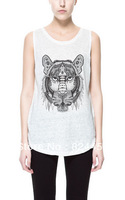 1pcs Retail Free shipping 2014 Fashion Brand Print Tiger Cotton Tank T Shirts For Women Summer Blouse Tops Free Size