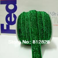 25 Yards 5/8'' 16mm Elastic Stretch Emerald Green Glitter Metallic Velvet Ribbon