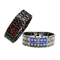 EVSHSB (148) Drop shipping Men's style Red &Blue LED Metal Lava Style Iron Samurai Watch Free Shipping
