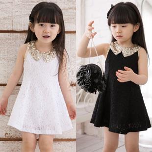 2013 summer gentlewomen lace girls clothing child tank dress sleeveless one-piece dress qz-0610