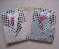 Male faux silk solid color plaid long sleeve length pants set silk plus size lounge 2