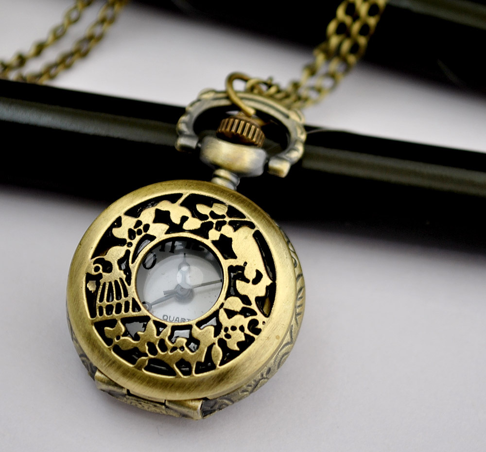 Small flower pots bird pocket watch necklace vintage accessories fashion pocket watch necklace(China (Mainland))
