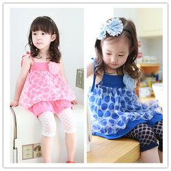 Girls dresses kids cloths Summer new arrival 2013 female child twinset dress polka dot tank dress set tutu dress(China (Mainland))