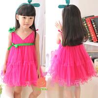 Summer one-piece dress child sweet gentlewomen suspender skirt princess dress