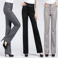 2014 spring and summer casual pants high waist ol Light gray linen pants straight pants female trousers western-style trousers