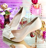 2013 New arrival Noble golden bowknot high heels for wome sexy ladies pumps wedding evening party shoes 889-42