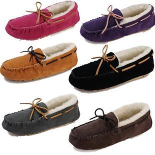 Fashion Women's winter cow leather indoor casual flat sheep wool warm gommini loafers driving shoes,Purple,Black,W5-W10