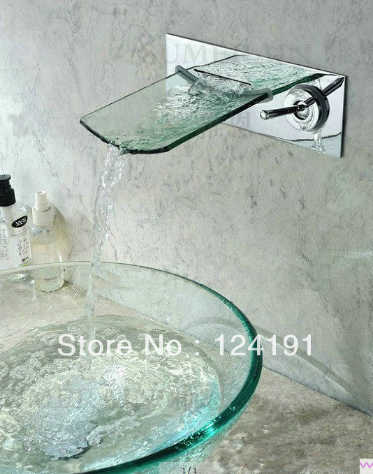 Vessel Sink Faucet new Brushed Nickel Bath tub Wall Mounted Style Glass Waterfall ww045(China (Mainland))