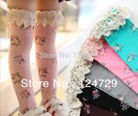 Free shipping.Knee high socks rural small broken flower bud silk lace princess socks of the girls