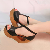 2013 the trend of female sandals wood wedges open toe high-heeled shoes clogs platform shoes unique personality alien
