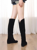 2014 spring and autumn all-match high-leg scrub boots flat heel boots women's shoes black