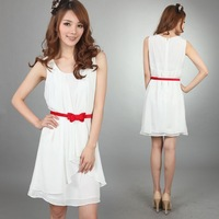 Medium-large product sleeveless ol chiffon one-piece dress belt