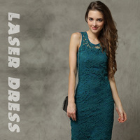 Elegant sexy peacock blue embossed crochet lace one-piece dress medium skirt twinset