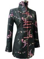 Fashion Gray Chinese tradition  Long style Women Silk Satin Jacket Coat  Outerwear M L XL XXL XXXL 2306-1