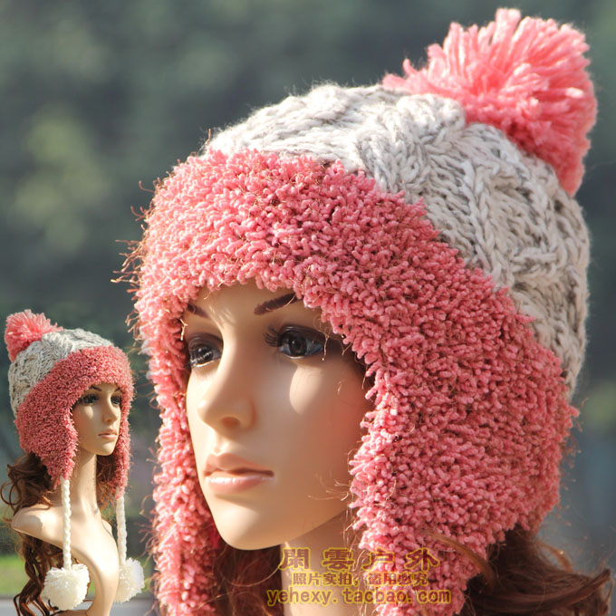 Autumn and winter hat women's hair balls thermal flower knitting wool hat knitted ear m253(China (Mainland))