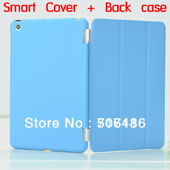 New ArrivalPC plastic back case with smart cover for iPad MINI with stand & Cingulate Intelligent Sleep & wake up free shipping