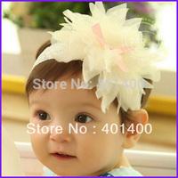 Wholesale 20pcs Fashion Strechy Lace Headband Baby Fabric Flower Headwrap Infant Hairband Girls Wedding Hair Accessories