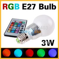 3W Remote Control E27 16 Color Change RGB LED Light Bulb 85~265V With RC