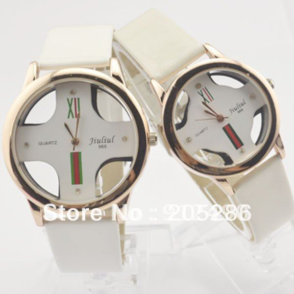 1PC Gold border Female table, the strap watch, hollow out of fashion men or womens watches(China (Mainland))