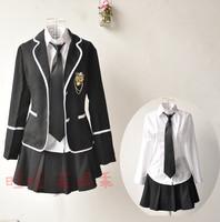 Student clothing class service preppy style school uniform set suit school wear black white