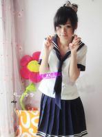 Summer girls school uniform navy blue sailor suit student clothes cos costume preppy style uniform