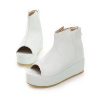 White Black Platform Wedges Platform Zipper Bag Open Toe Cool Boots Female Sandals Plus Size 4-12.5