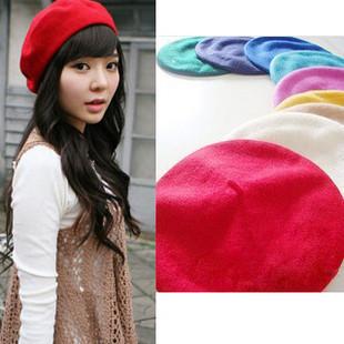 Fashion women's sheep gentlewomen woolen solid color painter circle lovers cap stewardess beret hat SC0257(China (Mainland))