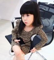 1pcs New t baby girl clothing taste leopard print ruffle hem one-piece dress Children clothes Clothing AQZ028