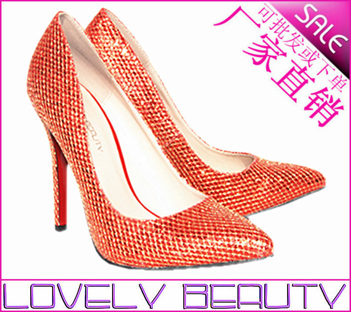 The new 2013 European and American fashion shiny high heels red pumps wholesale wedding party(China (Mainland))