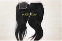 "Queen hair products: Virgin Brazilian Hair Lace Top Closure(4""*4"") Natural straight,10""-18"" natural Color"