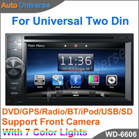 Universal Car DVD GPS Player two 2 Din support Front Camera 7 changeable button ligth color DVD GPS Radio BT iPod USB SD PIP