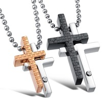 Free Shipping Fashion Jewelry Stainless Steel Necklace Silver Accessories Equations Lovers Titanium Cross Steel Necklace GX781