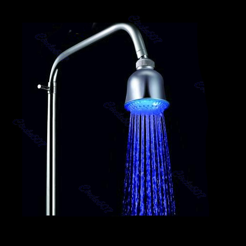 Free Shipping Super Bright LED Light Top Spray Shower Head Bathroom Blue Water Glow LD8010-A2(China (Mainland))