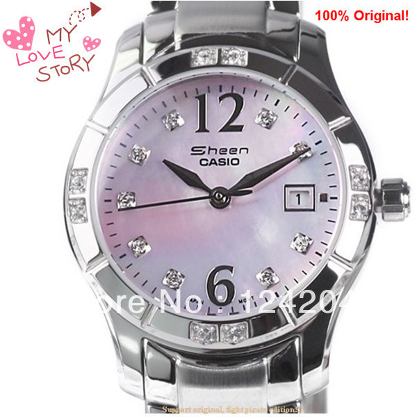 Free shipping Original Casio SHN-4019DP-4A Petit, feminine design Mother of pearl face Stainless Steel Band fanshion lady watch(China (Mainland))