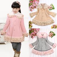 Sunshine 2014 girls clothing princess wool cotton-padded wool trench coat outerwear j10