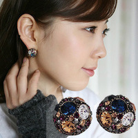 Min. order is $15 (mix order) female fashion multicolour  rhinestone ball stud earring0346