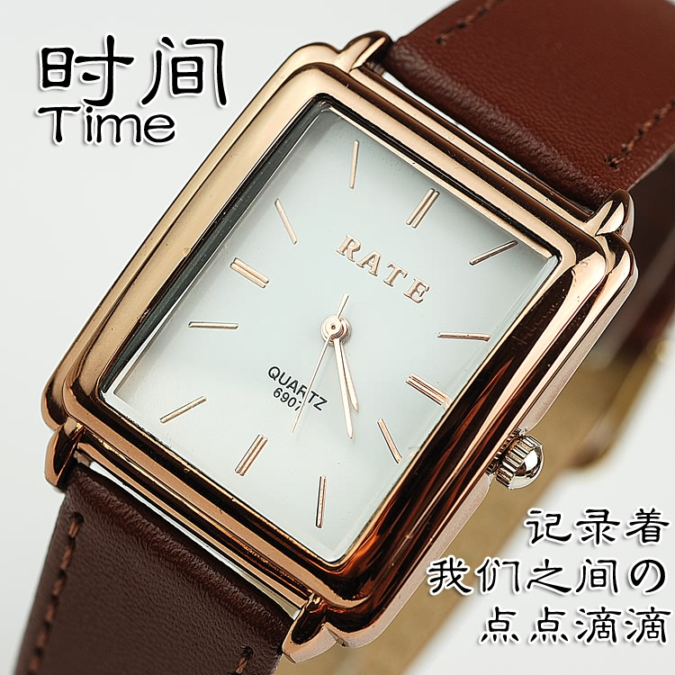 Brown vintage dual display strap fashion black strap lovers watch waterproof watch(China (Mainland))