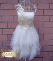 Fashion Lace One-shoulder Pearl Beading Bridal Dress White,Pink,Champagne Prom Dress