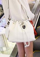 Fashion british style vintage bags tassel bucket e pendant shoulder bag beige drawstring buckle messenger bag  free shipping