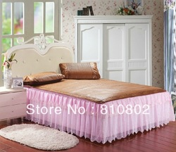 NEW ARRIVAL 2013 free shipping solid color summer queen cheap lace bed skirt 180*200cm(China (Mainland))