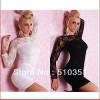2013 Hot Spring Dress Free shipping 2013 New Arrivals Fashion Sexy Hot Women Above Knee Long Sleeve Lace Evening Dress 4016