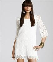 2013 Autumn vintage crochet crocheted lace 7 points sleeve dress SML