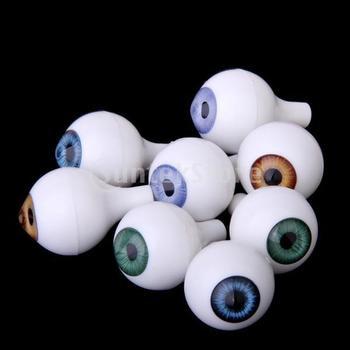 Free Shipping 8 PCs Round Acrylic Doll Eyes Eyeballs Halloween Props 18mm